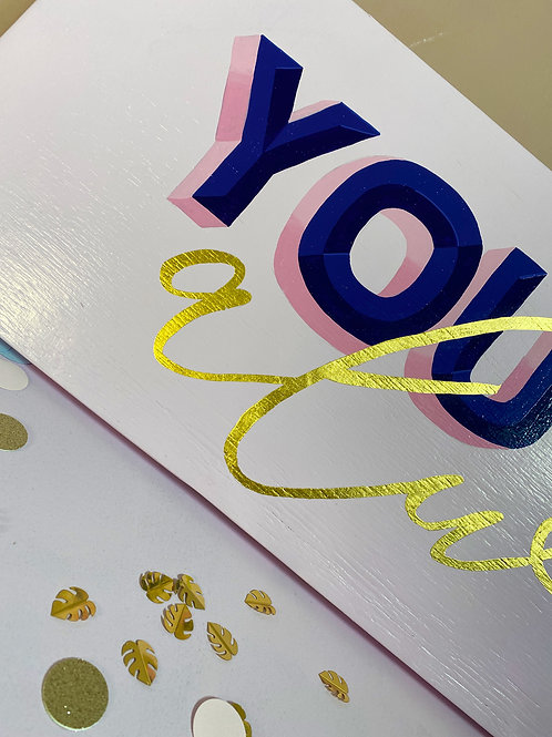 You and me always song lyric artwork, pink and gold, UK