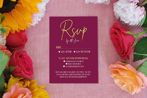 Classic Burgundy RSVP card
