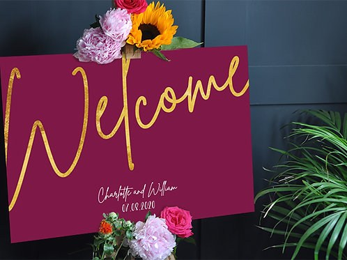 Burgundy and Gold Wedding Welcome sign