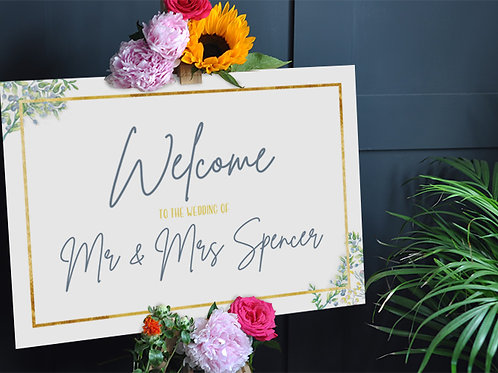 Botanical Wedding Welcome Sign