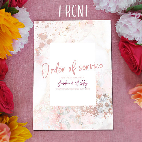 Pink Marble Order of Service