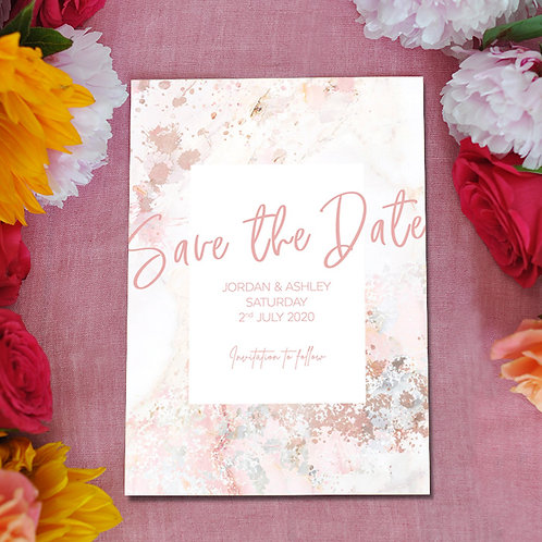 save the date cards, wedding, marble, pink, blush, save the dates, modern