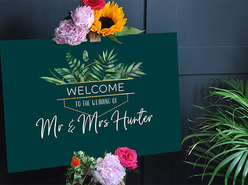 Tropical Wedding Welcome Sign