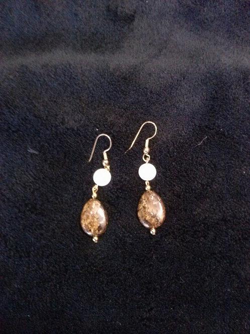 Bronzite  & MOP 14K Gold Filled Earrings