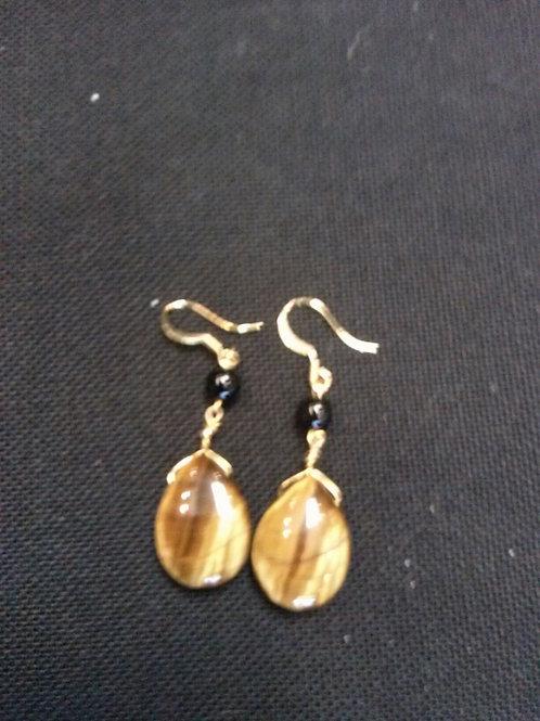 Tiger Eye & Onyx Bead 14k Gold Filled Earrings
