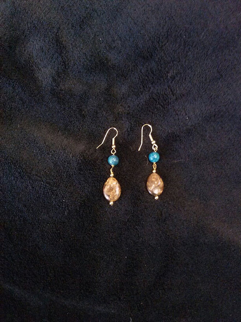 Bronzite & Apatite14K Gold Earrings