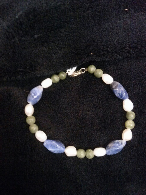 Sodalite, Jade and FW Pearl SS Braclet