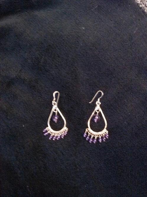 Amethyst 8 Bead.925 Earrings