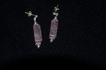 Lepidolite & Sterling Silver Bead Earrings