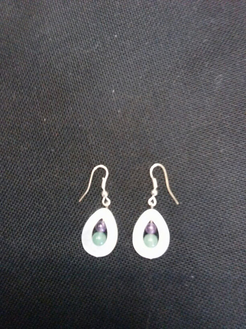 Mother of Pearl, Aventurine & Amethyst Earrings