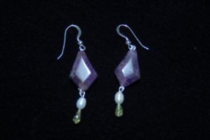 Amethyst, Fresh Water Pearl & Peridot Earrings