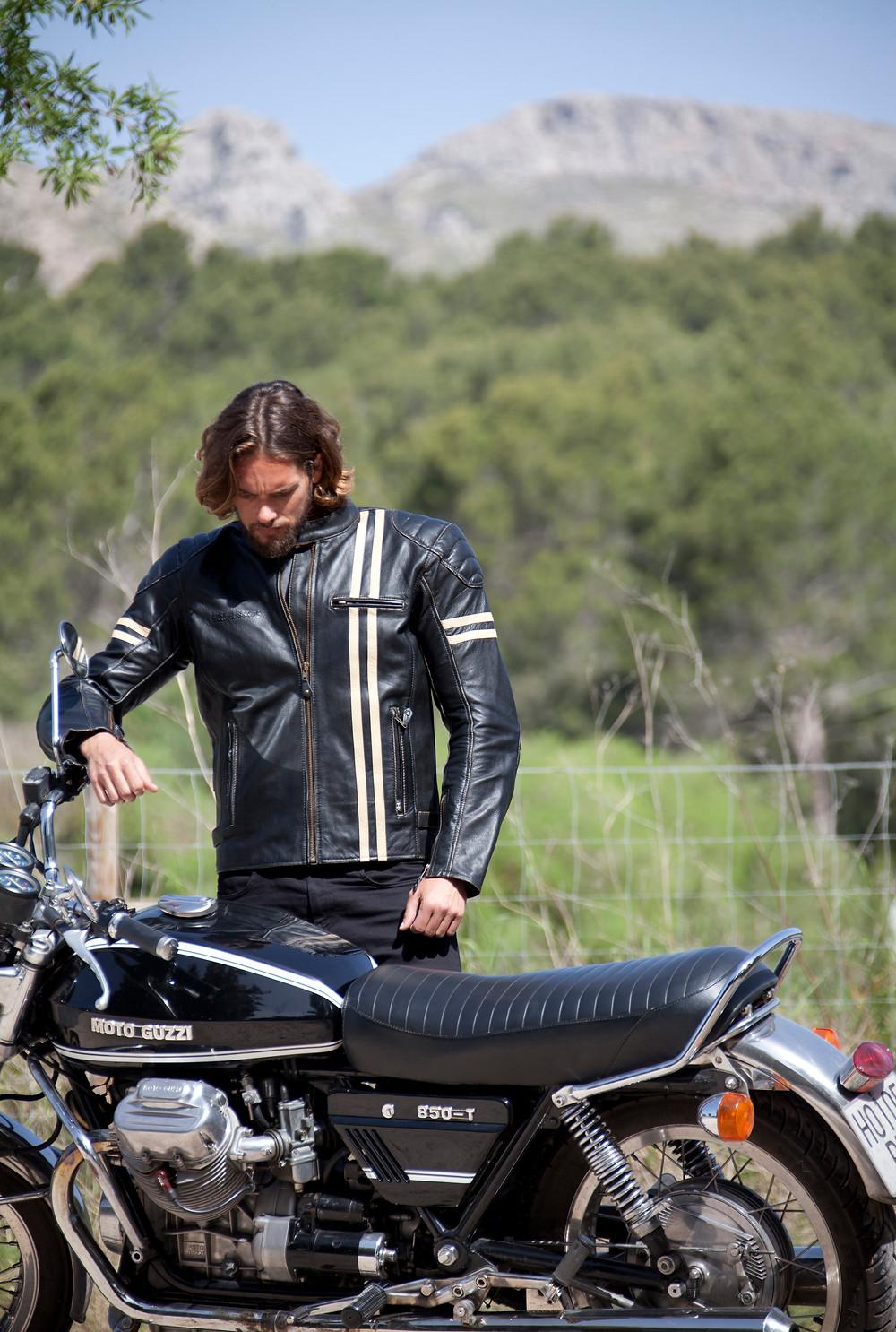 Halvarssons Thunder Classic Motorradjacke mit Moto Guzzi