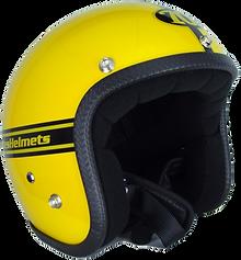 Der gelbe Motorradhelm aus der Pastello-Kollektion von 70s.