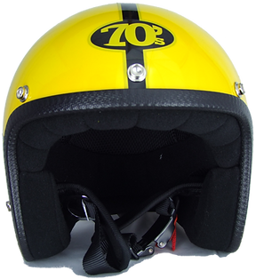 70s Motorradhelm Pastello Yellow Front
