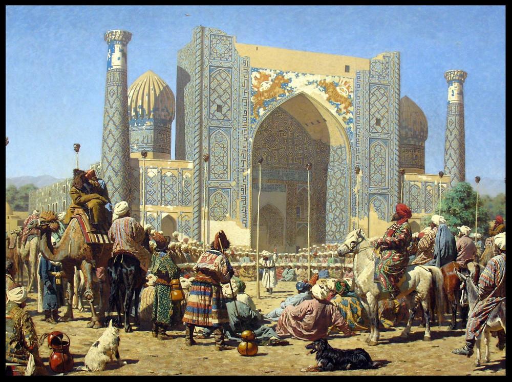 Die Sher-Dor Madrasah in Samarkand. Bild von Vasily Vereshchagin [Public domain] via Wikimedia Commons