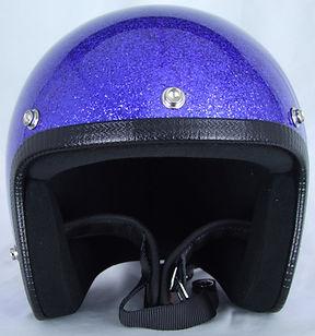 Frontansicht Metalflake Motorradhelm Blue von 70s
