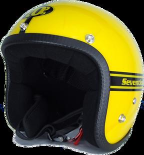 70s Motorradhelm Pastello Yellow Seitenansicht