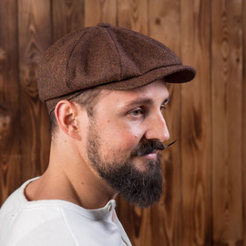 1928 Newsboy Cap herringbone brown wool.