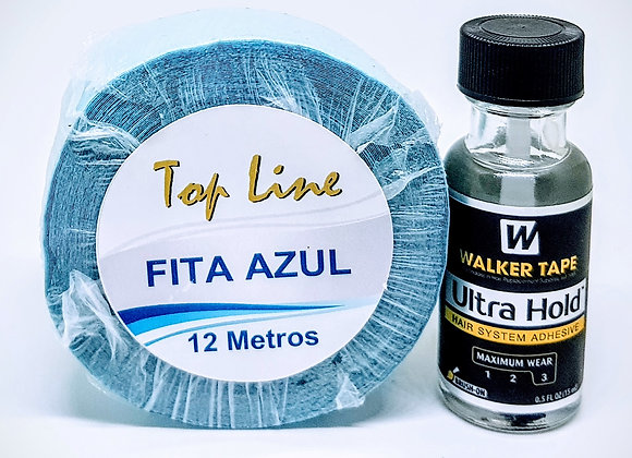 Kit Azul12 contem 1 cola Ultra Hold 15ml+Fita Azul 12m.