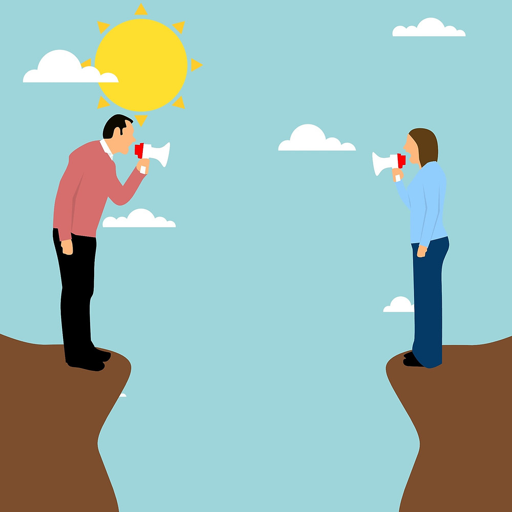 An animation depicts a husband and wife yelling at each other from opposing cliffs.