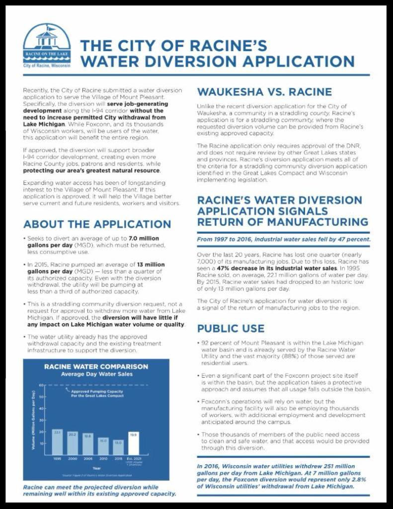 About Racine's Water Diversion Application