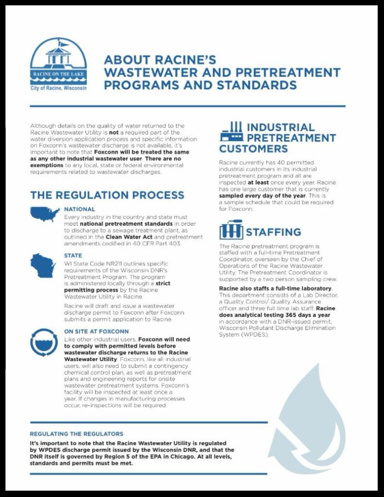 About Racine's Wastewater and Pretreatment Programs and Standards