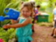 Preschool student in gardening class in Madison, WI at Kids Express Learning Center