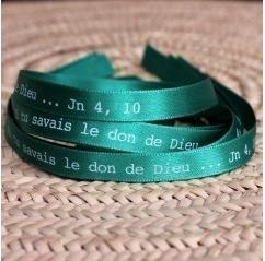 """Bracelet Vert """"Si tu savais le Don de Dieu"""""""