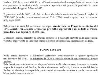 BANCA C.R.ASTI : PREMIO GIUGNO 2017 e FONDO ESUBERI