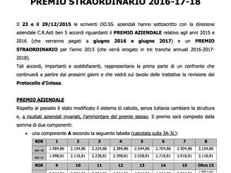 Banca C.R.Asti S.p.a. : premio aziendale 2015-2016 e premio straordinario