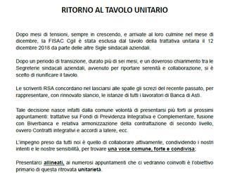 Banca di Asti: ritorno al tavolo unitario