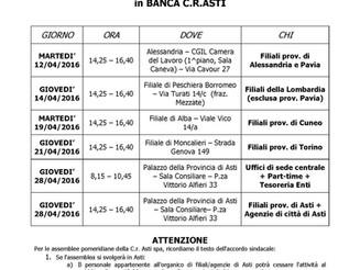Contrattazione di secondo livello Banca C.R.Asti : date Assemblee dei lavoratori