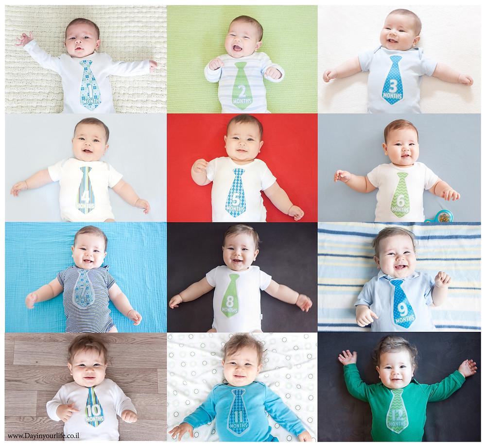 צילום חודשי בשנה הראשונה של התינוק