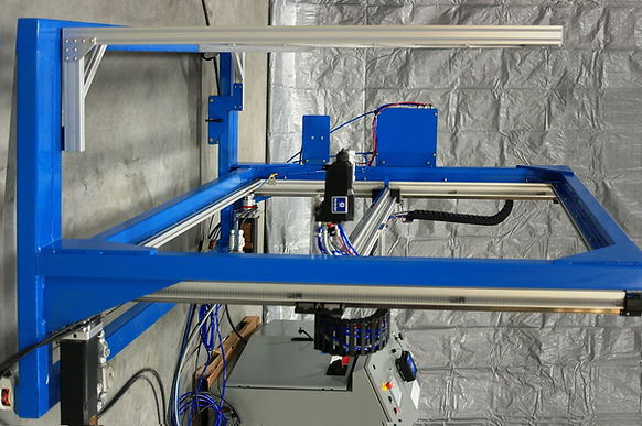 Test panel paint spray machine, vertical X-Y (H-bot type), with integral target rack