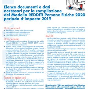 MODELLO DICHIARAZIONE DEI REDDITI 2020