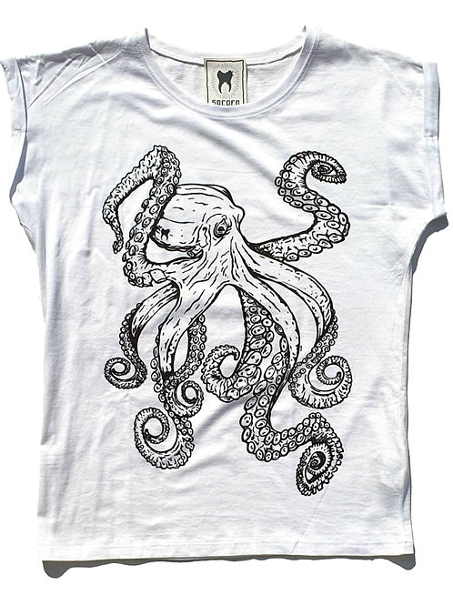 """Sacred Tooth """" Octopus """" Extended Shoulder Tshirt"""