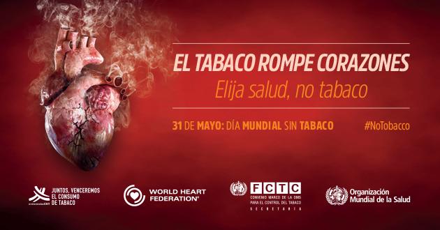 Corazón rodeado de humo, cartel de la Organizacion mundial de la salud. El tabaco rompe corazones