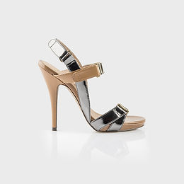Silver and Beige Stilettos