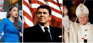 AOC (left) (Photo by Scott Eisen-Getty Images) Ronald Reagan (center) (Photo by Michael Evans-The White House-Getty Images) and Pope John Paul II (right) (Photo by J. DAVID AKE-AFP-Getty Images)