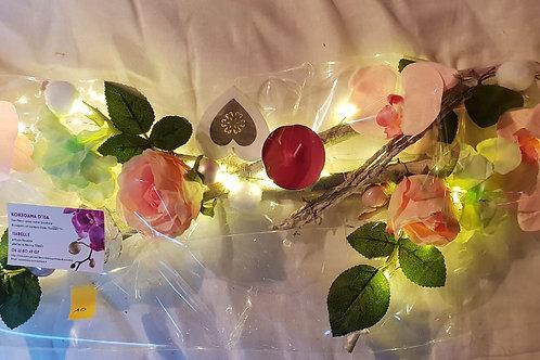 Centre de table n°10 rose et vert éclairage leds