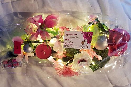 Centre de table I tons rose et blanc éclairage leds