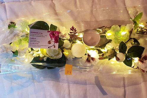 Centre de table n°27 tons blanc et vert éclairage leds