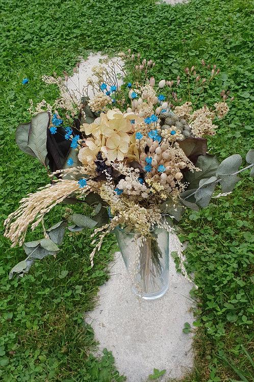 Bouquet 1 couleur naturel (touches de bleu)