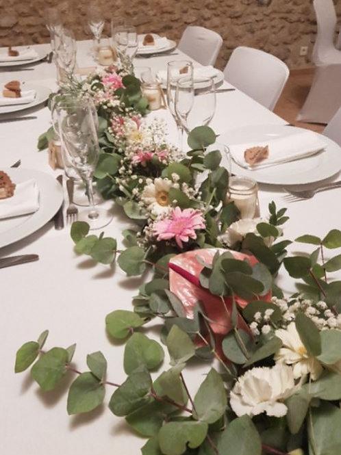 Guirlande de feuillage et de fleurs 2m
