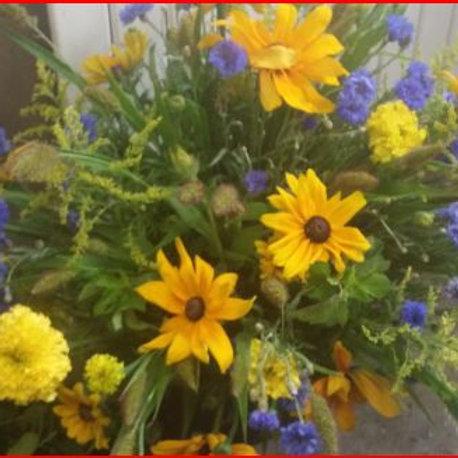 Bouquet champêtre jaune et bleu