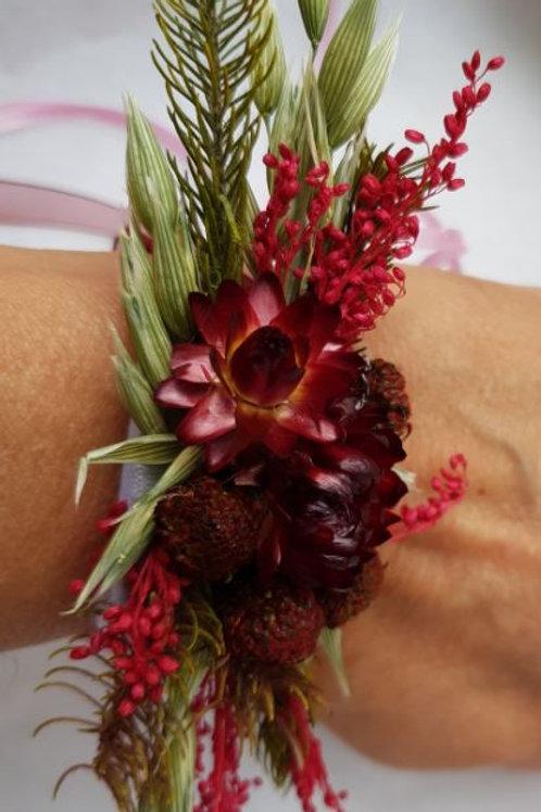 Bracelet de fleurs séchées ton bordeaux et vert