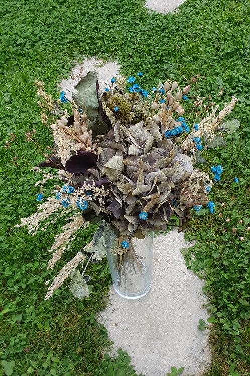Bouquet 13 couleur naturel et bleu