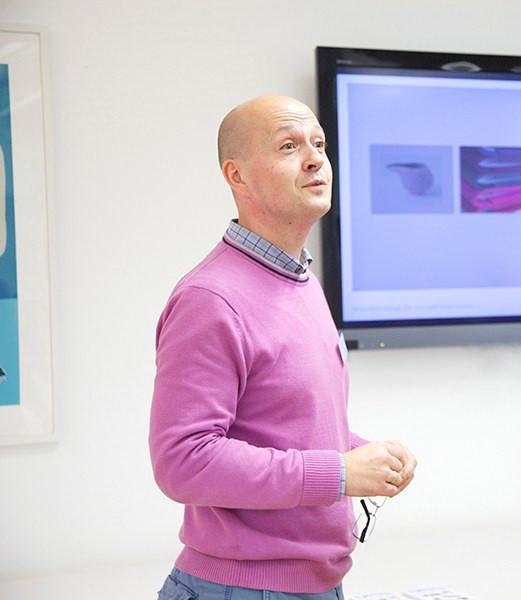 Dan Goode giving a talk