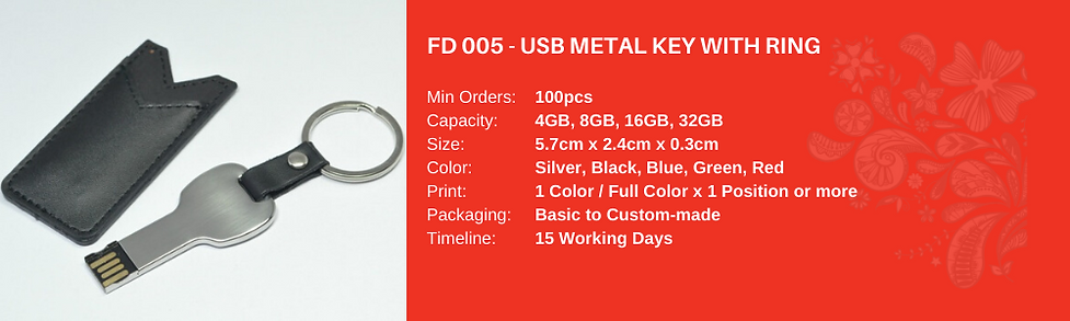 USB Metal Key with Ring