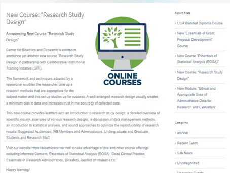 "New Course: ""Research Study Design"""
